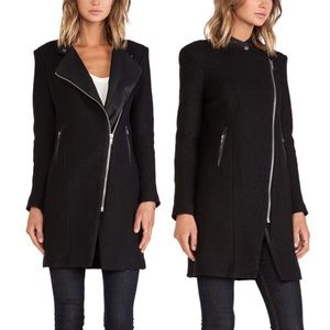 BB Dakota Finleigh Wool Jacket Black Faux Leather